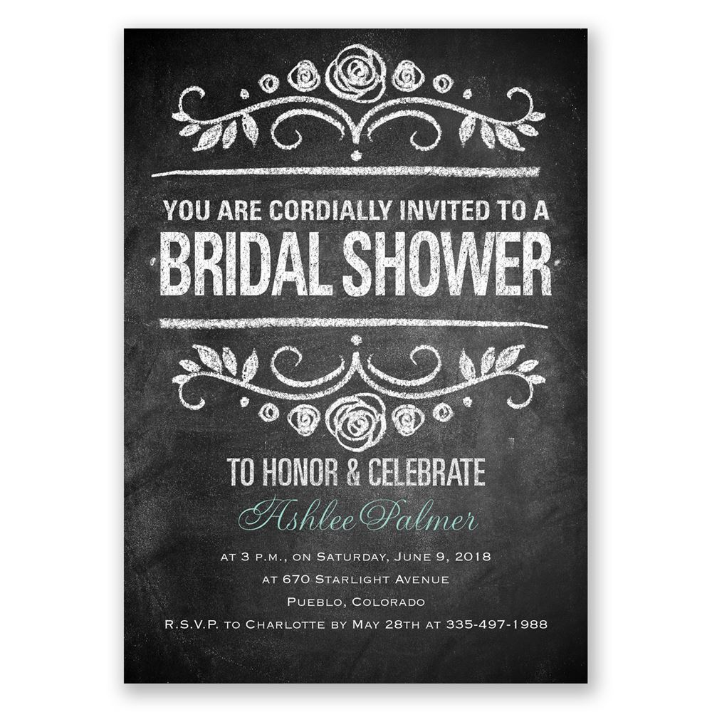 Chalkboard Art Bridal Shower Invitation Invitations By Dawn