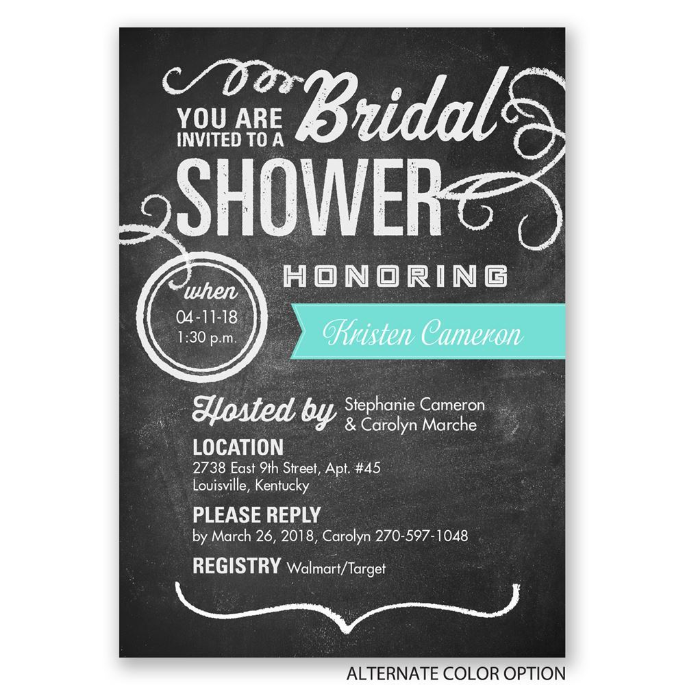 Chalkboard Poster Bridal Shower Invitation Invitations