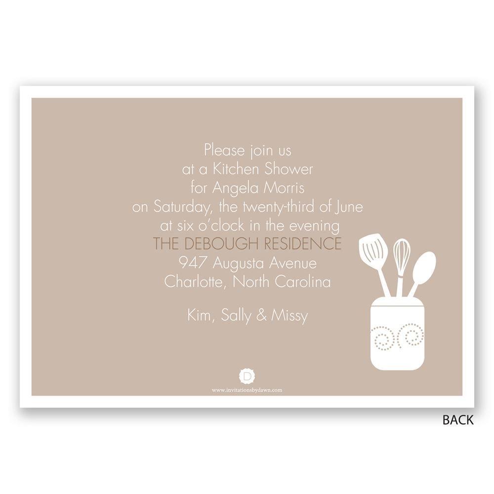 Kitchen Necessities   Bridal Shower Invitation