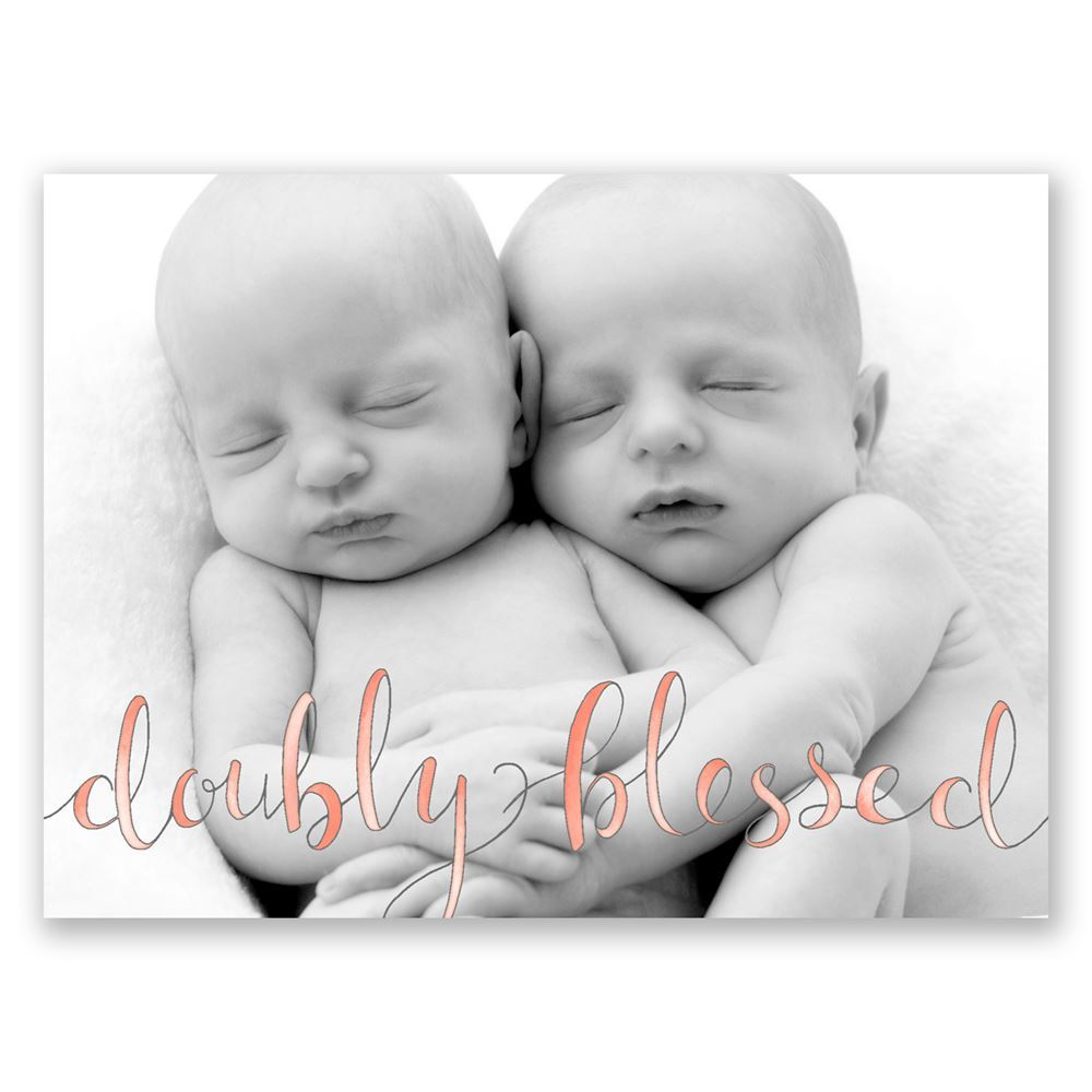 Doubly Blessed Petite Twins Birth Announcement – Photo Birth Announcement