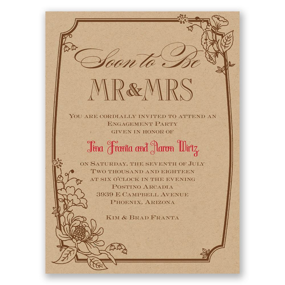 Country Kraft Petite Engagement Party Invitation   Invitations By Dawn