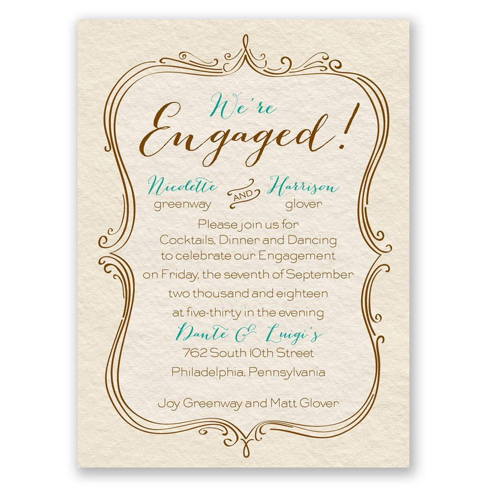 Elegant Crest Petite Engagement Party Invitation Invitations By Dawn