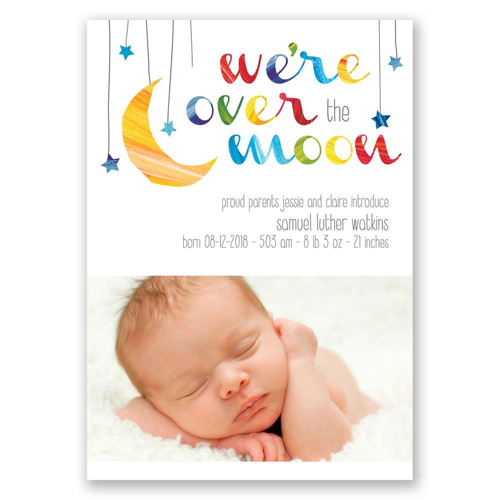 Over The Moon Birth Announcement Invitations By Dawn