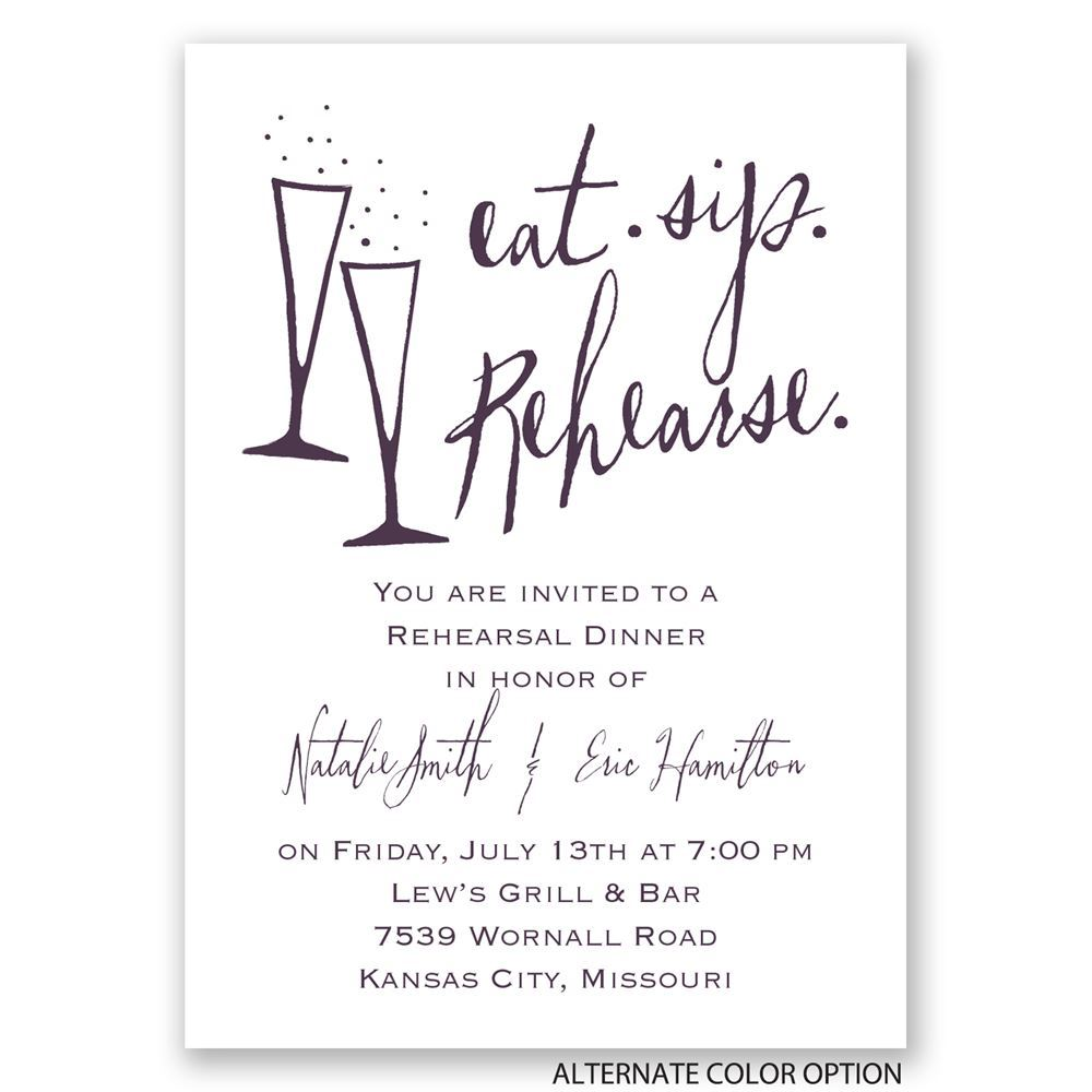 Eat Sip Rehearse Mini Rehearsal Dinner Invitation Invitations