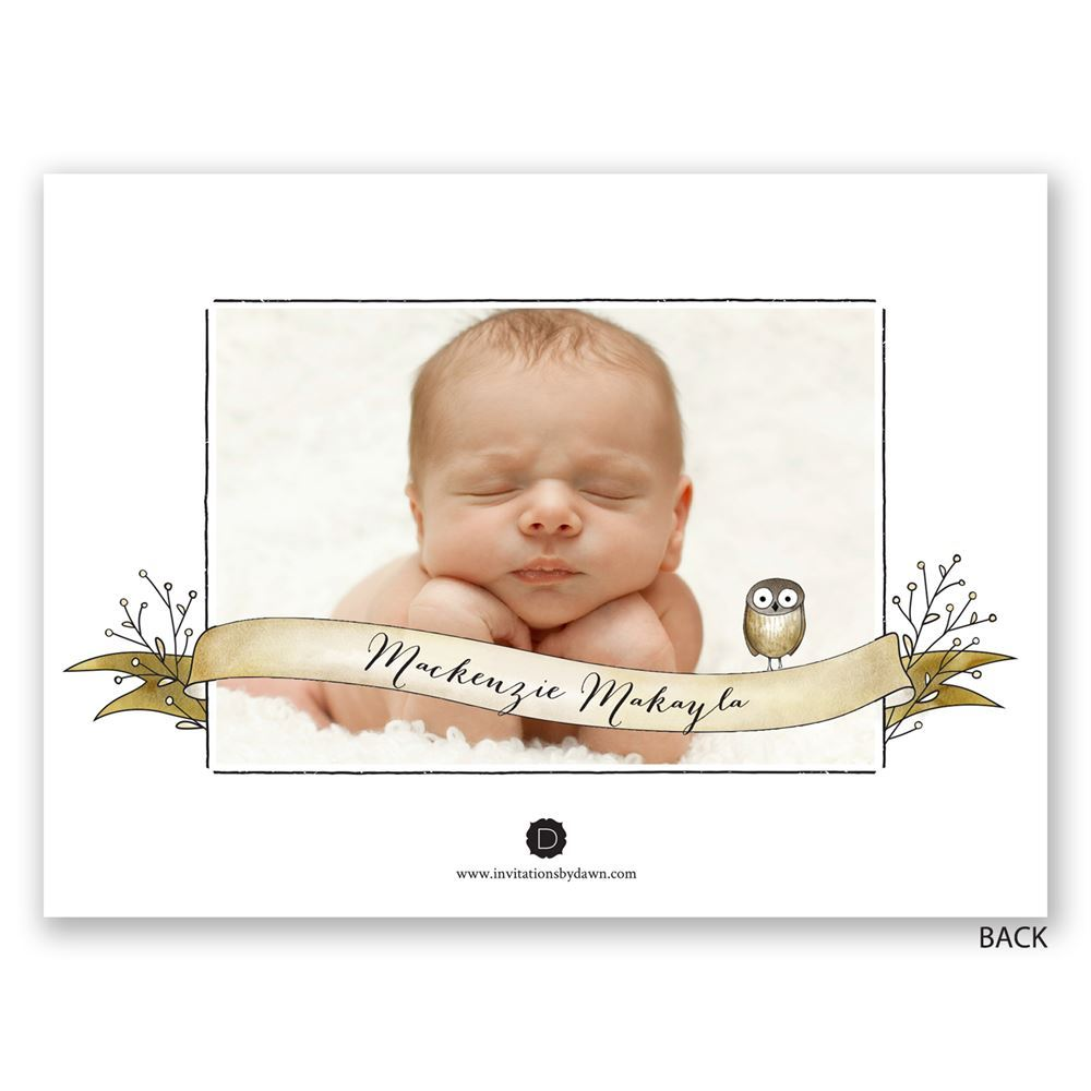 Forest Friends Petite Birth Announcement – Birth Announcement Photos