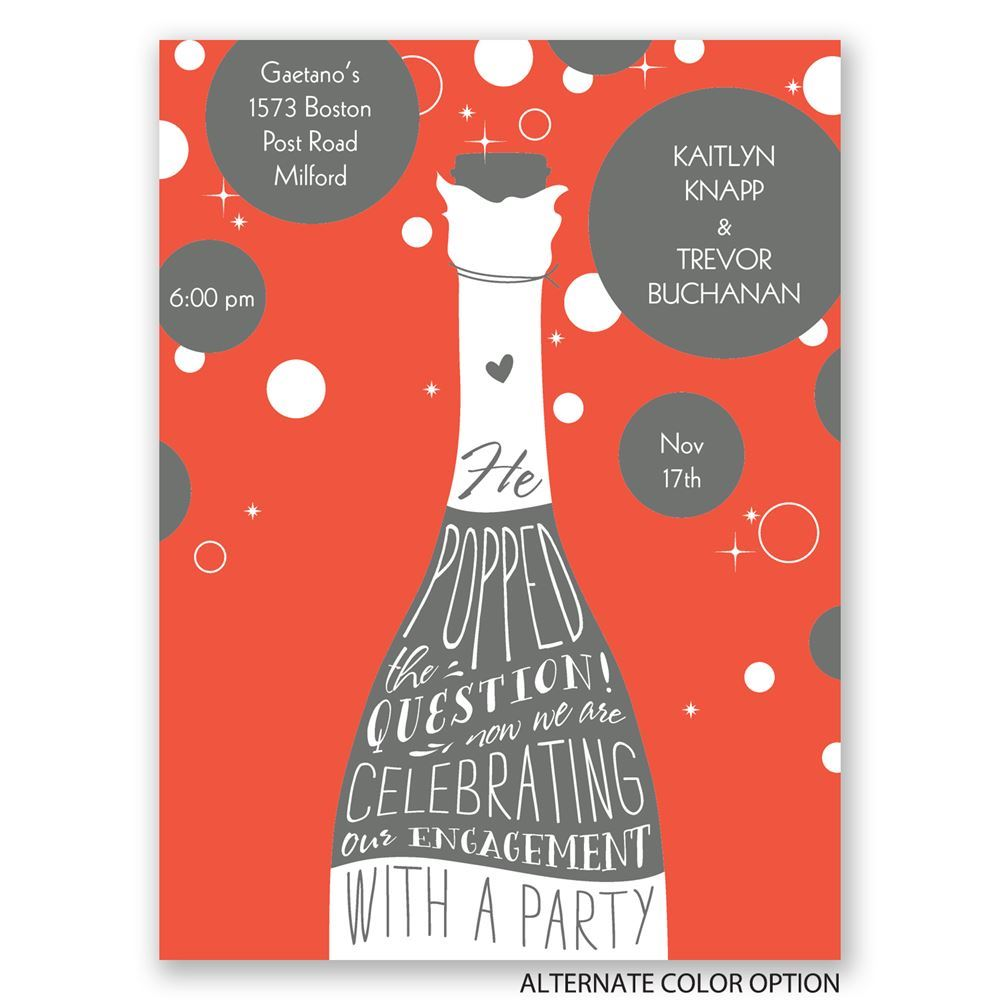 Popped the Question Petite Engagement Party Invitation | Invitations ...