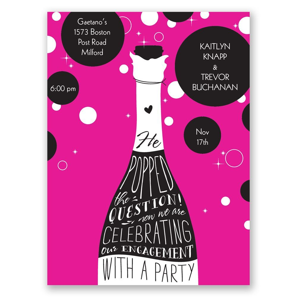 Popped the Question Petite Engagement Party Invitation – Champagne Party Invitations