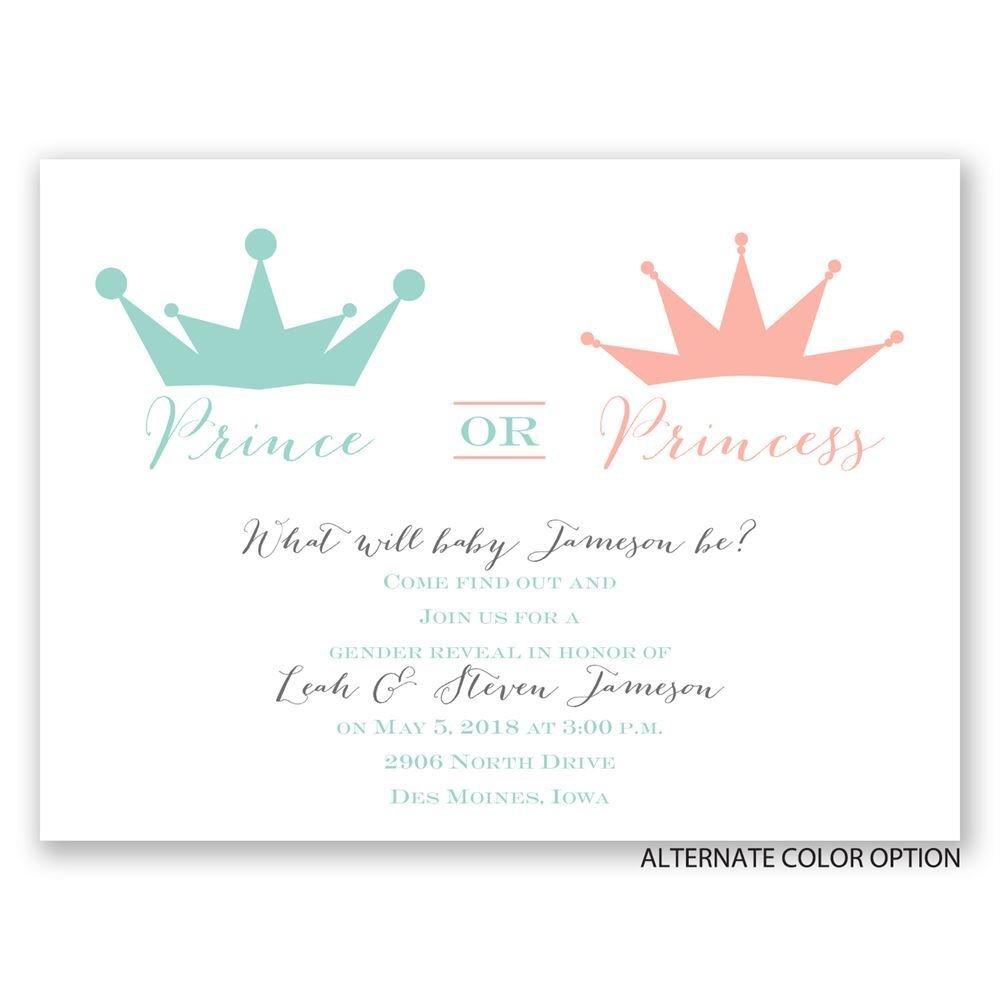 Prince or Princess Petite Gender Reveal Invitation | Invitations By Dawn