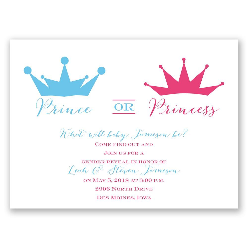 Prince or Princess Petite Gender Reveal Invitation Invitations