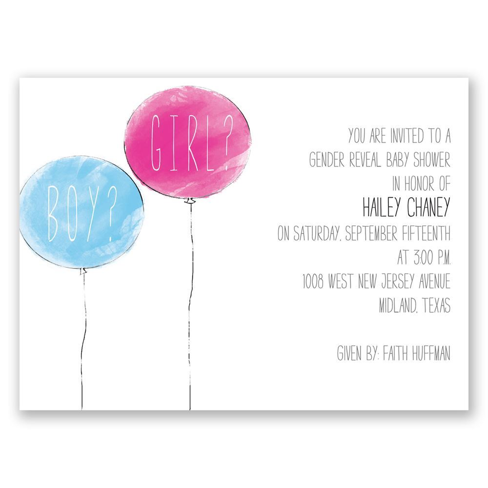 Party Balloons Petite Baby Shower Invitation | Invitations By Dawn
