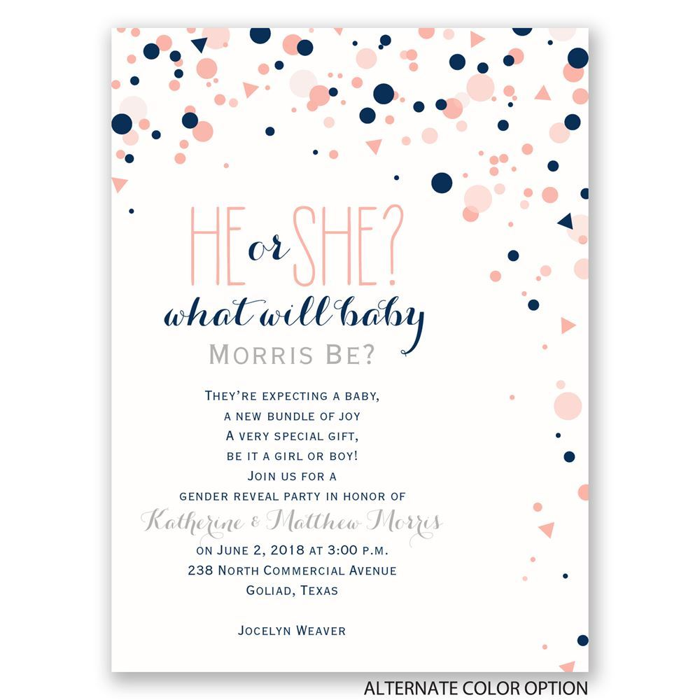 Pretty Confetti Petite Gender Reveal Invitation ...