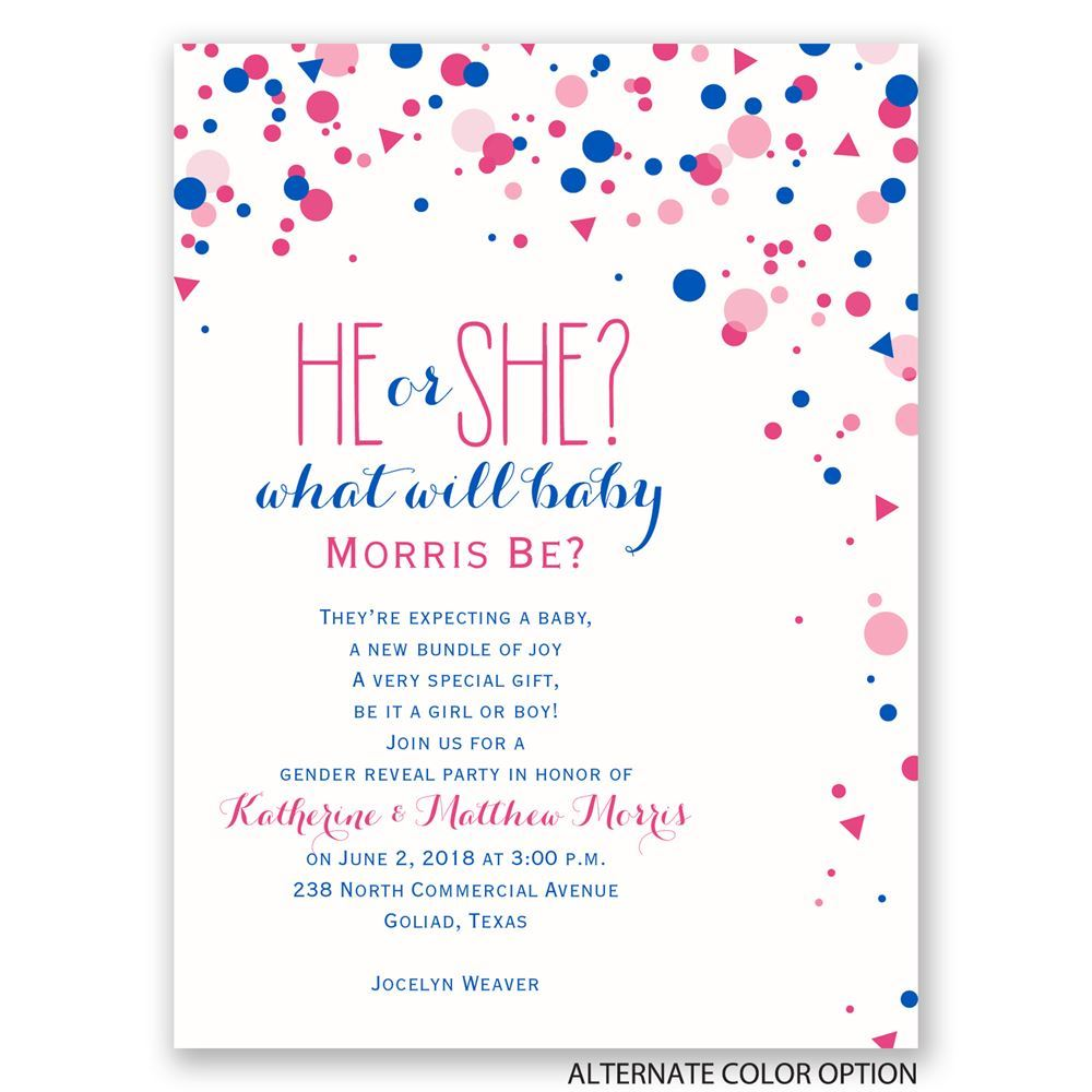 Pretty Confetti Petite Gender Reveal Invitation – Gender Reveal Party Invitations