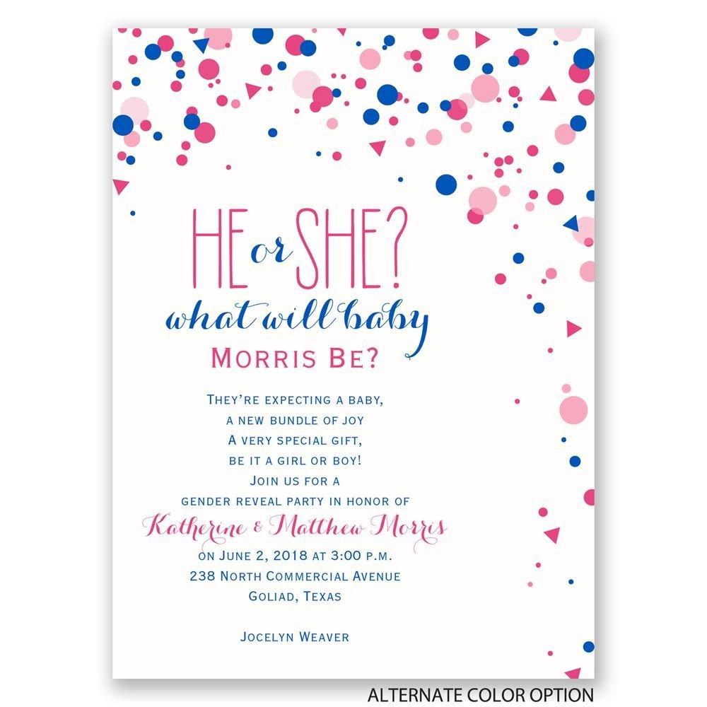 Pretty Confetti Petite Gender Reveal Invitation – Gender Reveal Party Invitation Wording