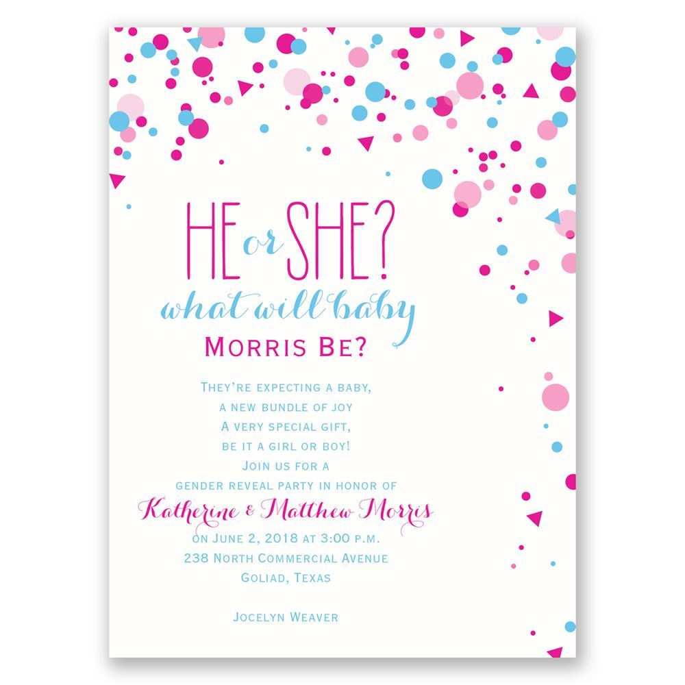 Pretty Confetti Petite Gender Reveal Invitation | Invitations By Dawn