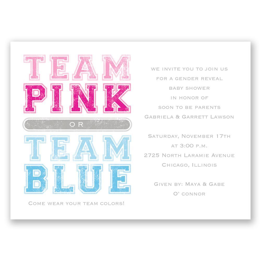 Team Colors Petite Gender Reveal Invitation Invitations By Dawn