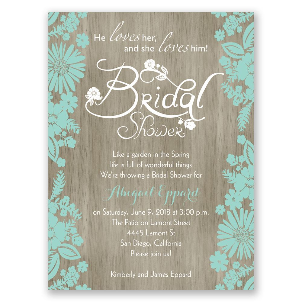 flowers and woodgrain petite bridal shower invitation, Wedding invitations