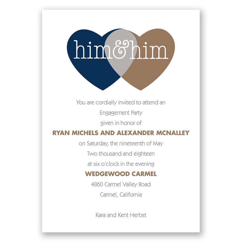Shared Love Mr and Mr Engagement Party Invitation Invitations By
