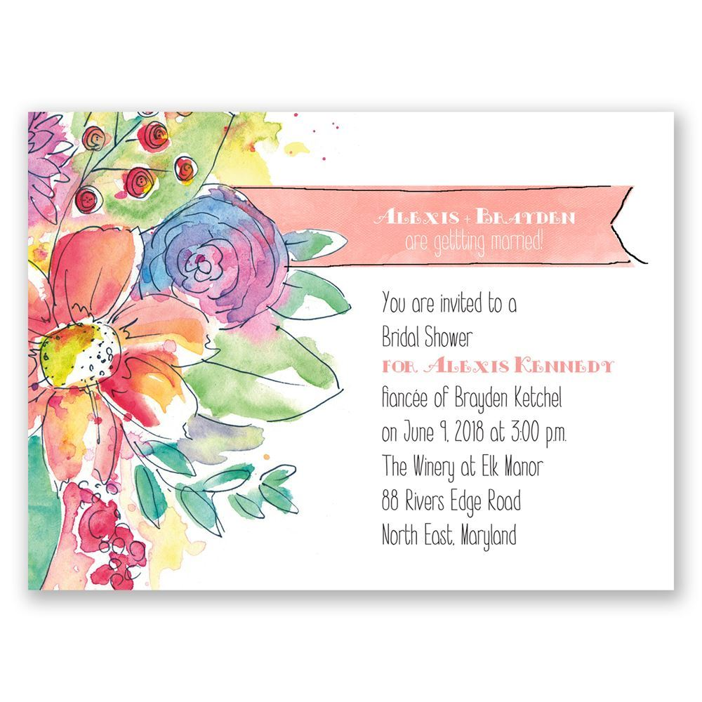 Watercolor Bouquet Petite Bridal Shower Invitation | Invitations By Dawn