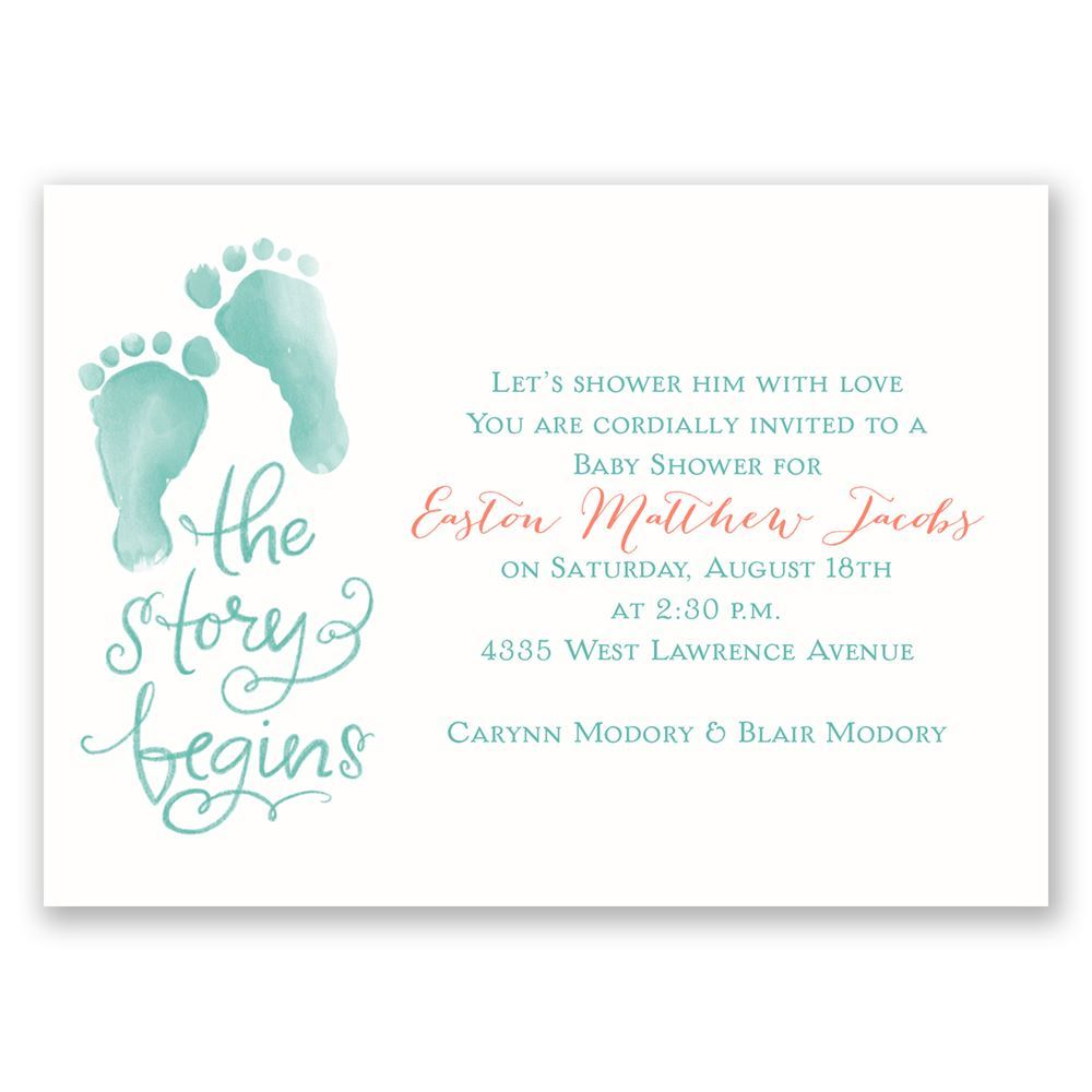 The Story Begins Mini Baby Shower Invitation