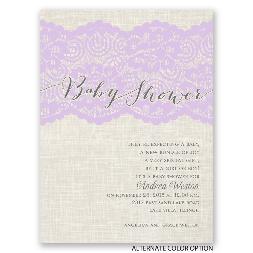Luxurious Lace Petite Baby Shower Invitation | Invitations By Dawn