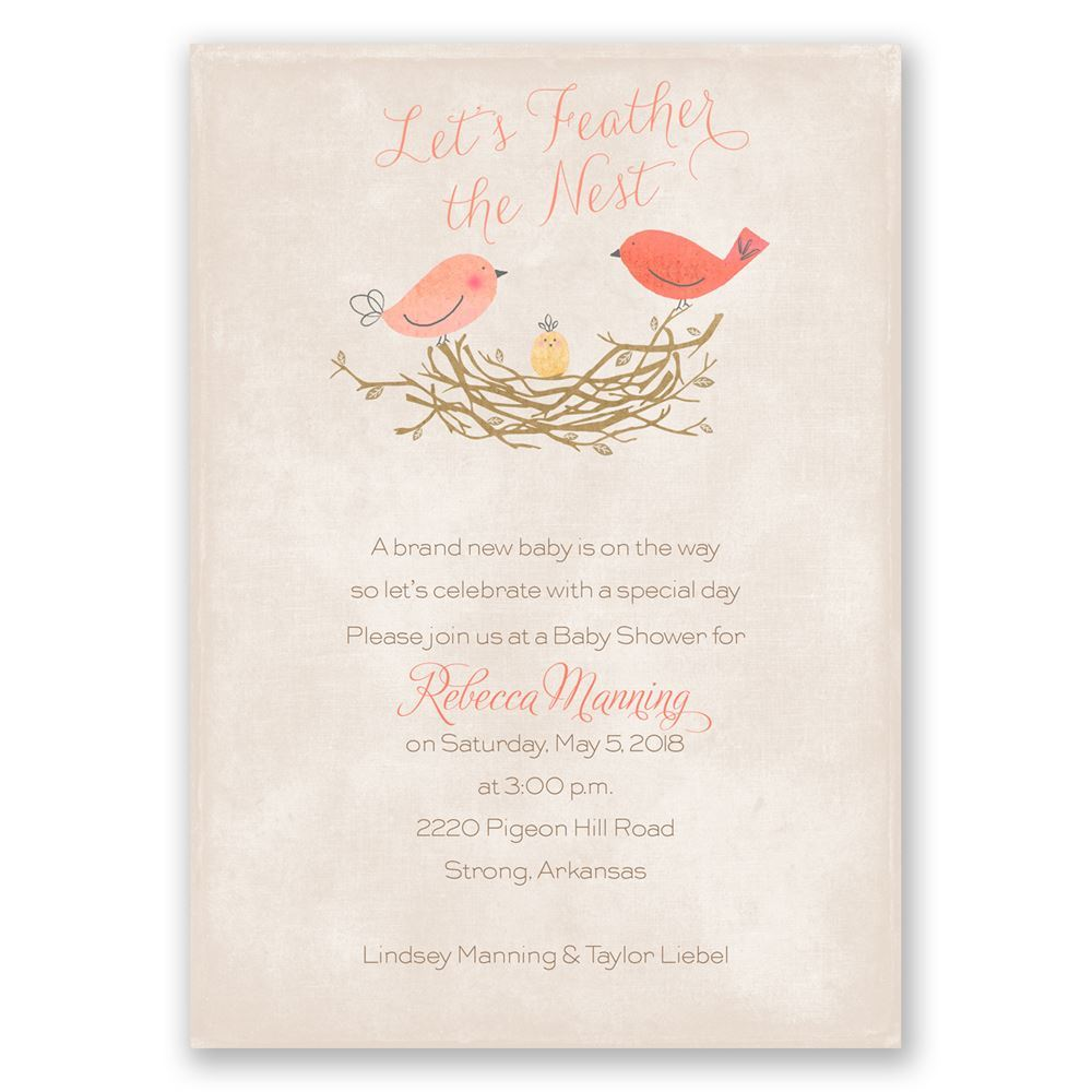 Feather the Nest Baby Shower Invitation | Invitations By Dawn