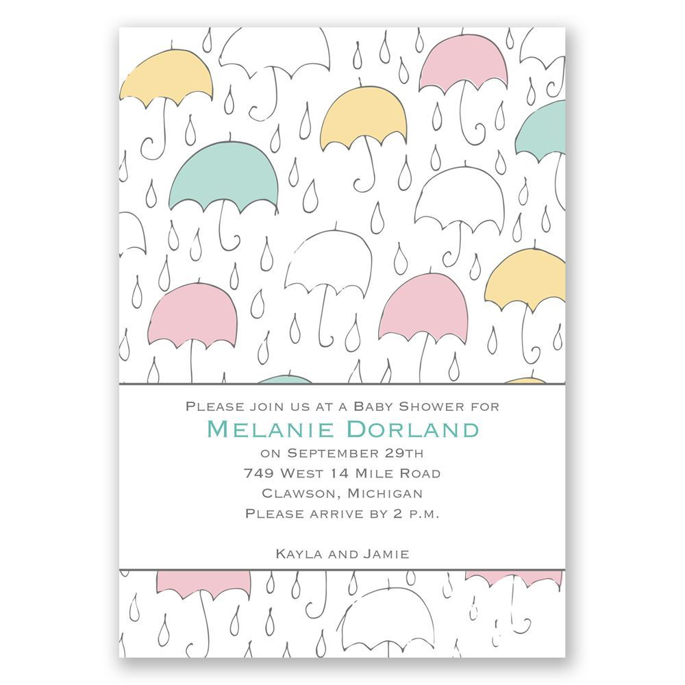 under the umbrellas baby shower invitation invitations by dawn
