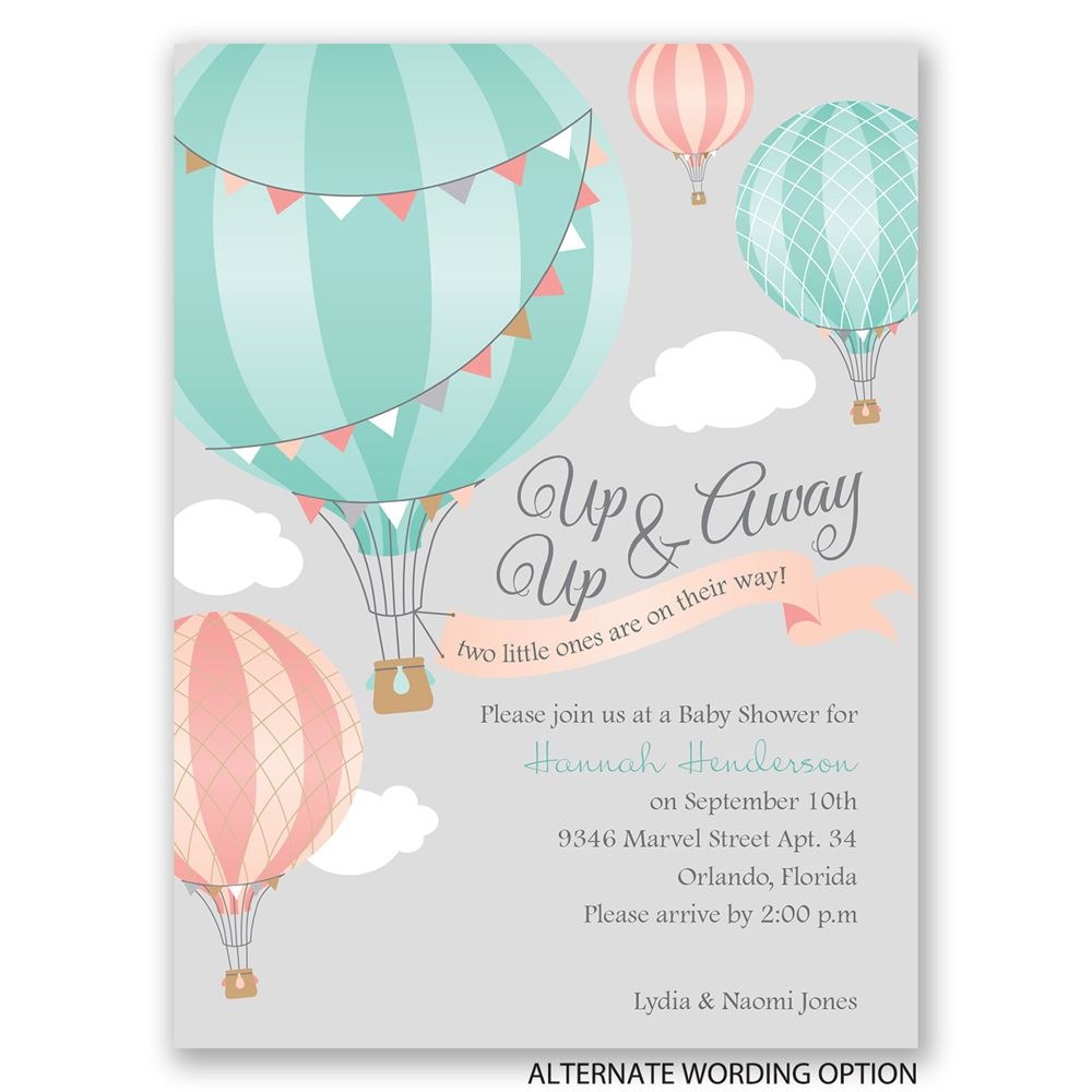Up Up Away Petite Baby Shower Invitation Invitations By Dawn