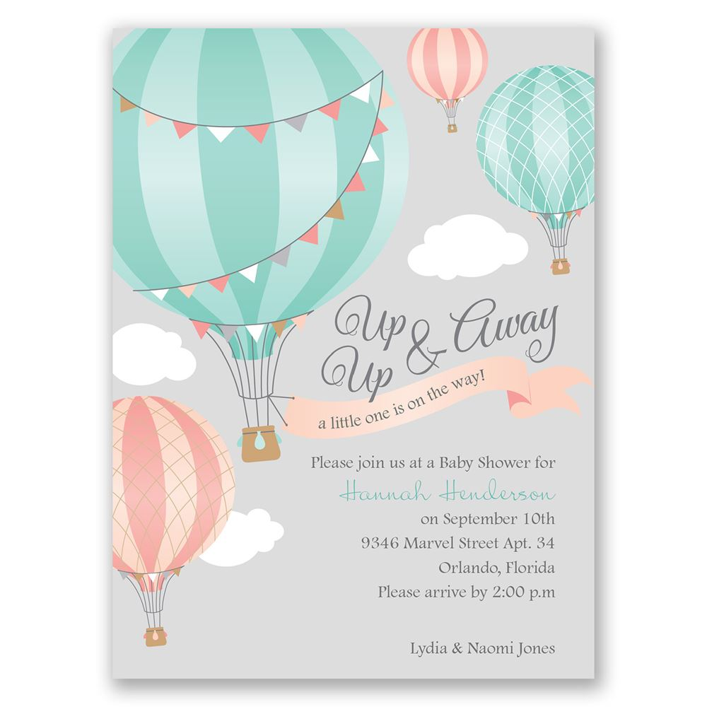 up, up & away petite baby shower invitation | invitations by dawn, Baby shower invitations