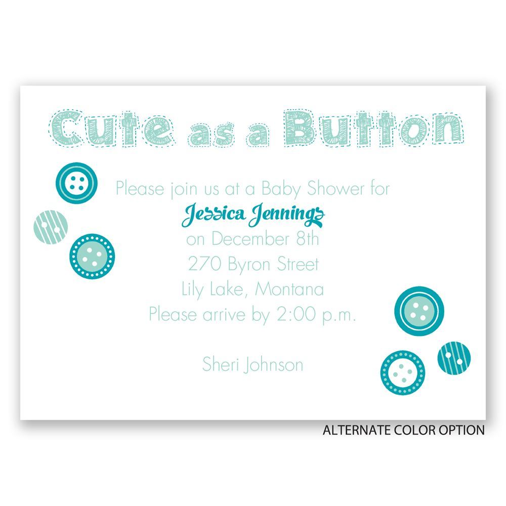home baby baby shower invitations cute as a button mini baby shower