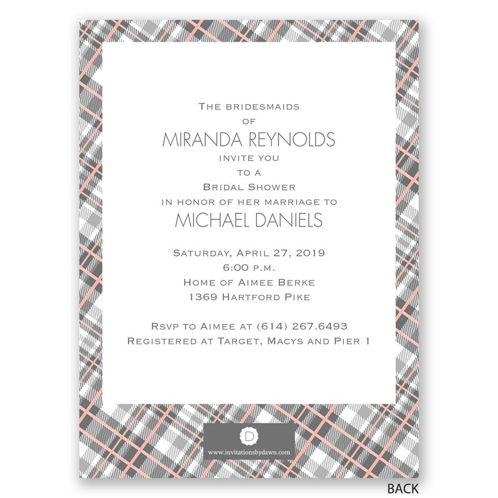 bridesmaids in plaid petite bridal shower invitation invitations