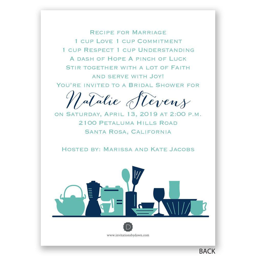 Kitchen Gadgets Petite Bridal Shower Invitation | Invitations By Dawn