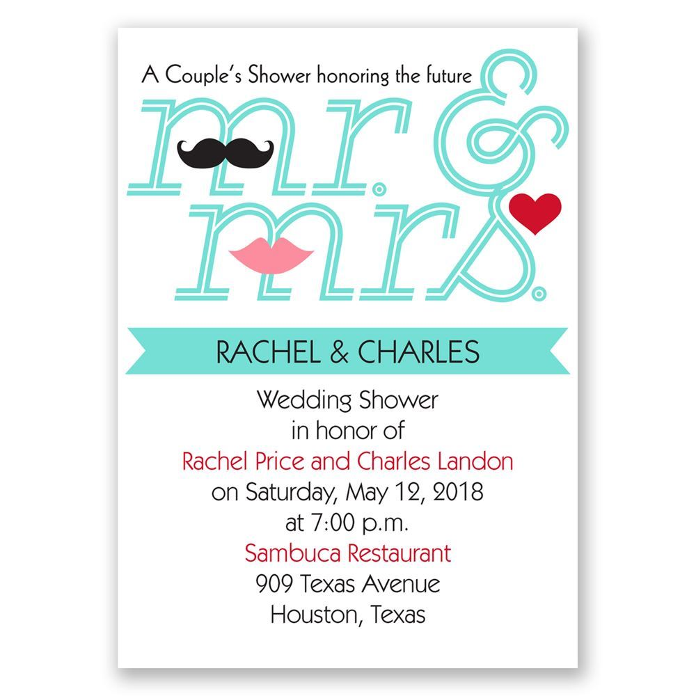 Quirky Wedding Invitation: Quirky Couple Mini Wedding Shower Invitation
