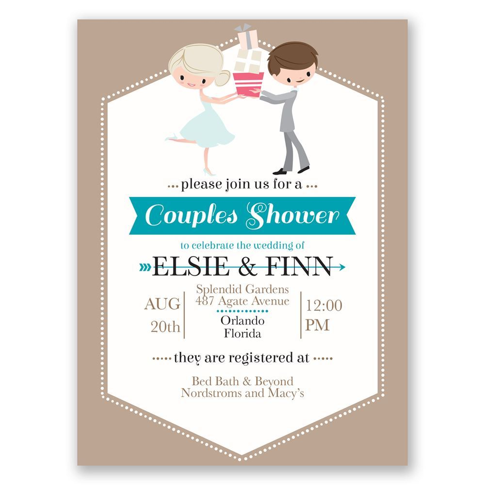 cute couple petite wedding shower invitation