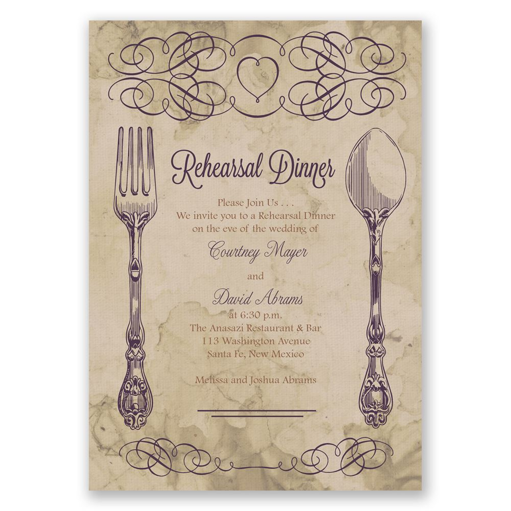 elegant dining rehearsal dinner invitation