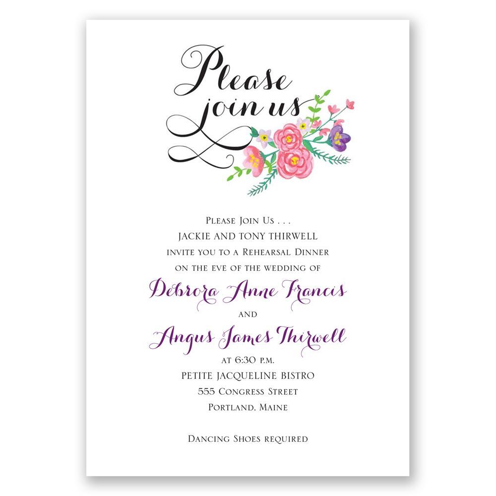 floral typography rehearsal dinner invitation