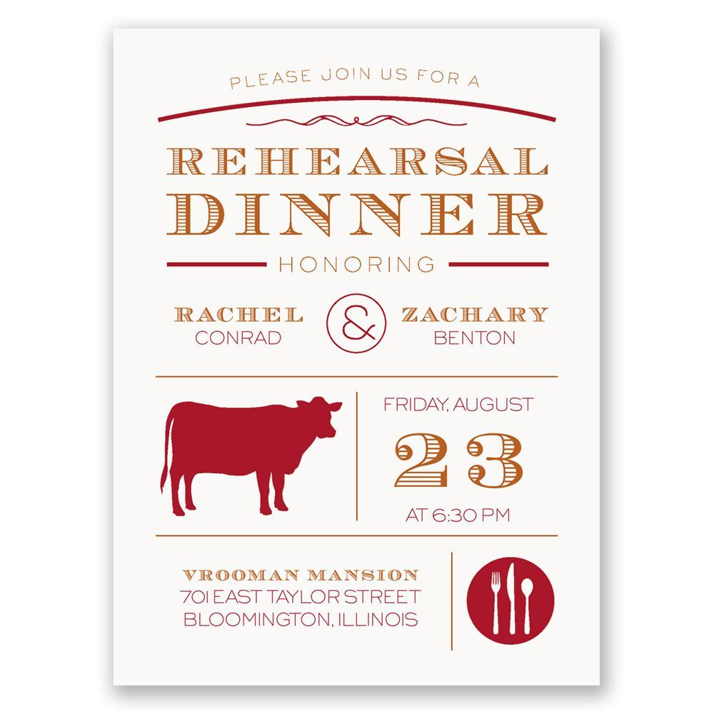 chef s choice beef petite rehearsal dinner invitation invitations