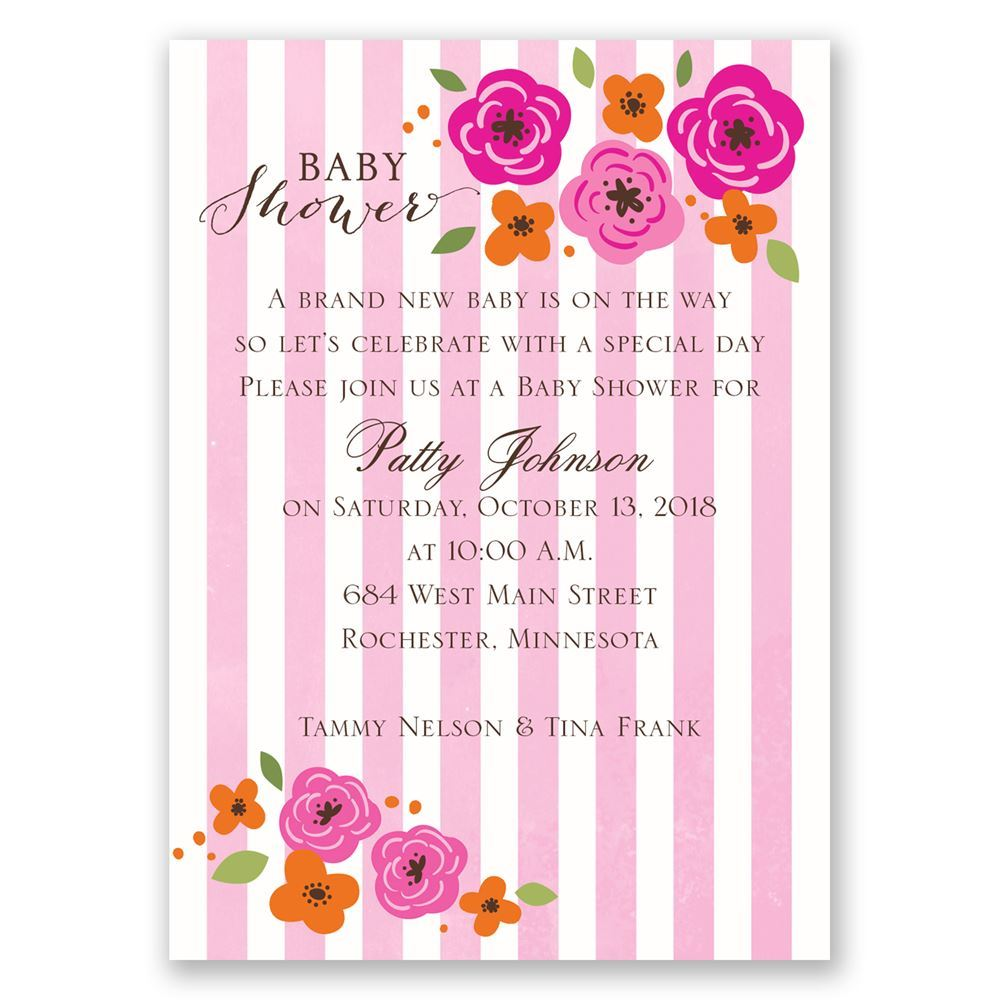 Flowers and Stripes Mini Baby Shower Invitation | Invitations By Dawn