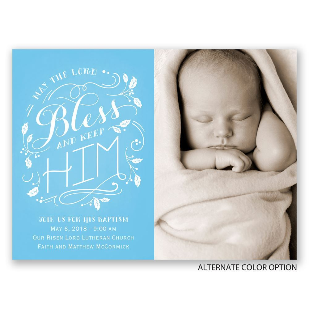 Bless Him Petite Baptism Invitation | Invitations By Dawn