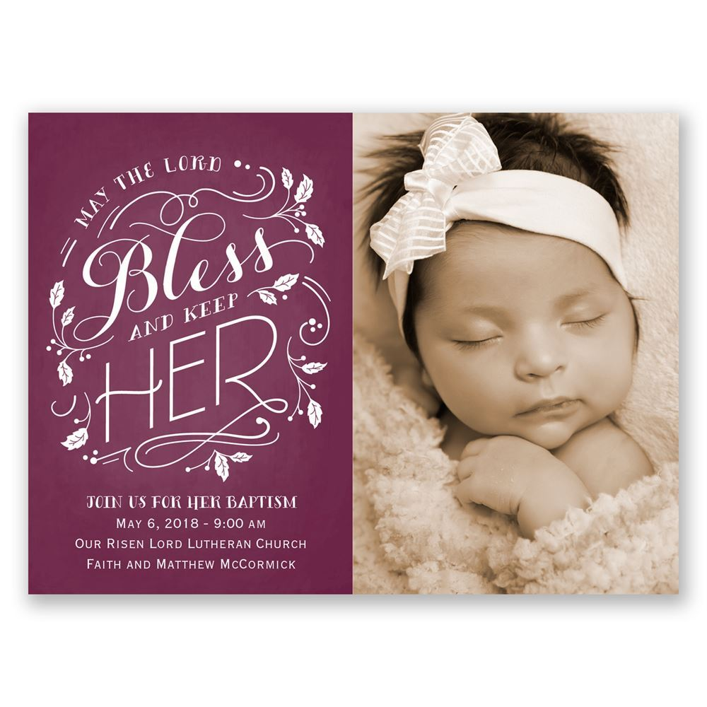 Bless Her Petite Baptism Invitation Invitations By Dawn
