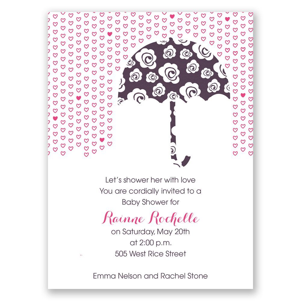 rose umbrella petite baby shower invitation invitations by dawn