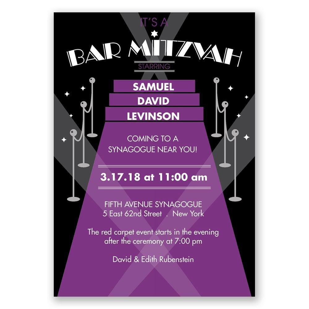 red carpet bar mitzvah invitation invitations by dawn