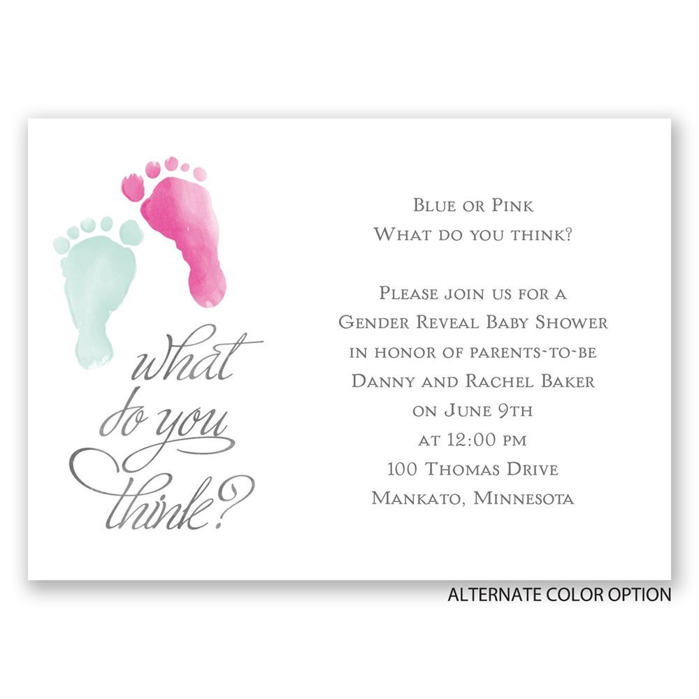 baby feet mini gender reveal invitation