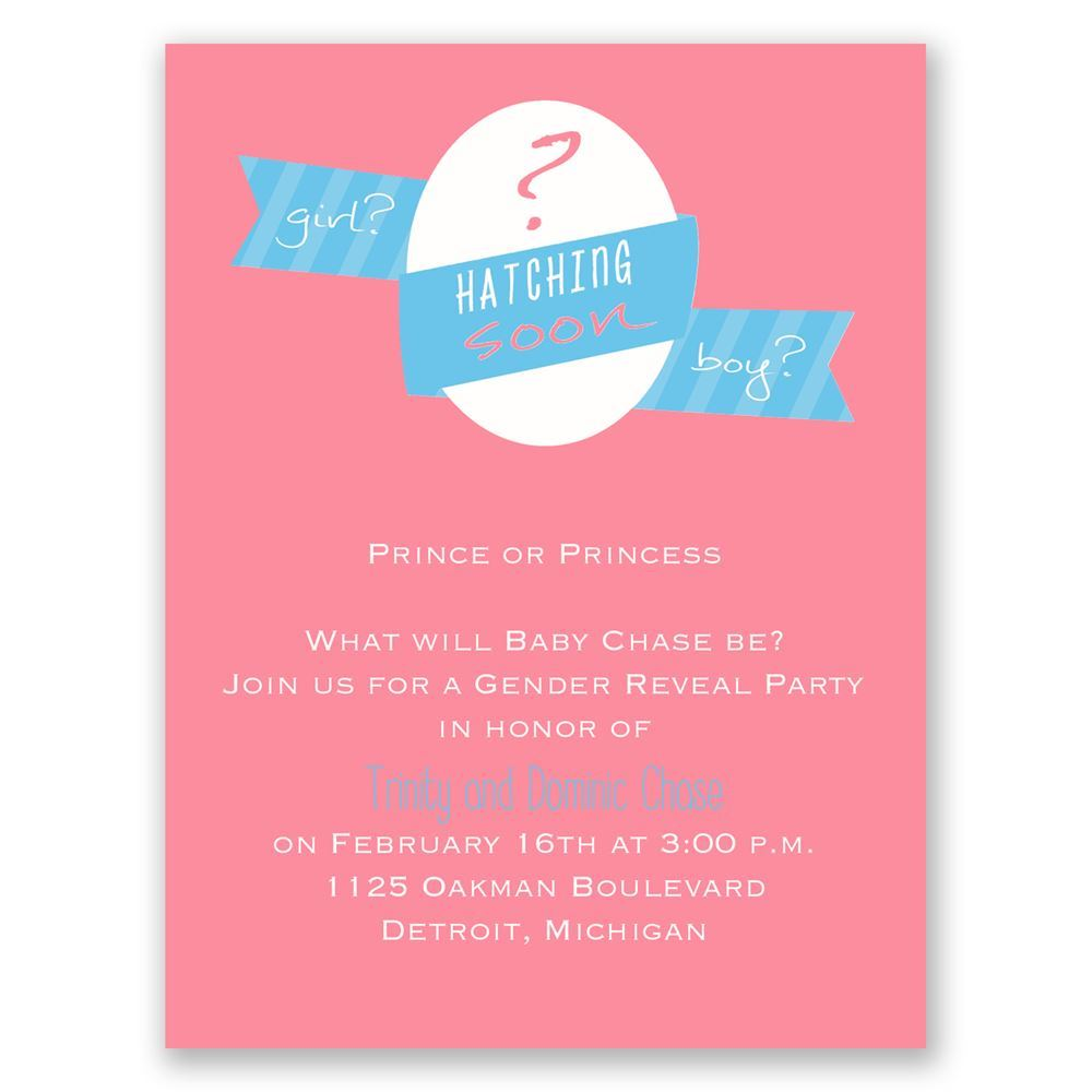 hatching soon mini gender reveal invitation invitations by dawn
