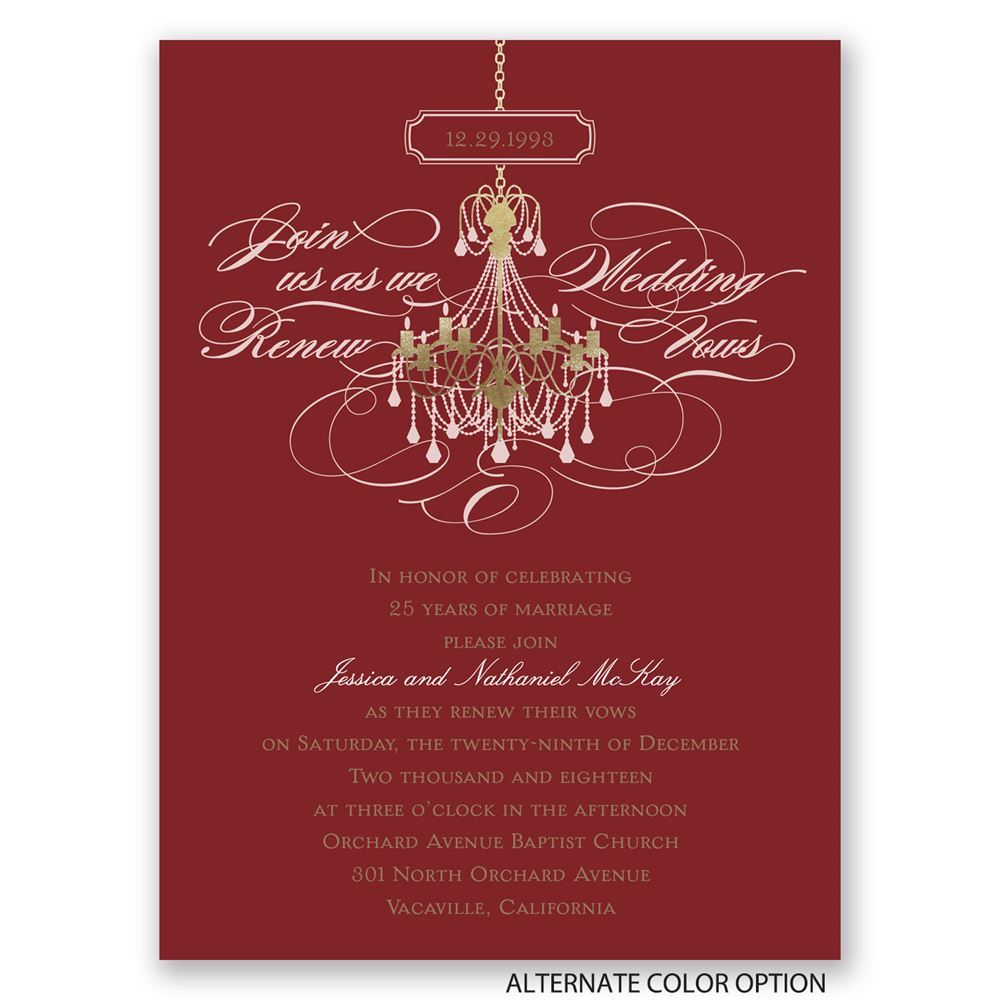 Chandelier Chic Petite Vow Renewal Invitation | Invitations By Dawn