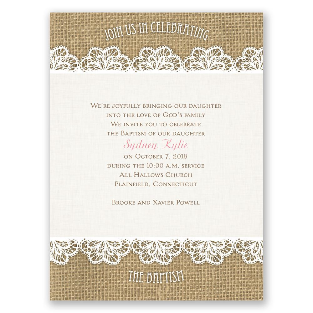 Crocheted Flowers Petite Baptism Invitation | Invitations By Dawn