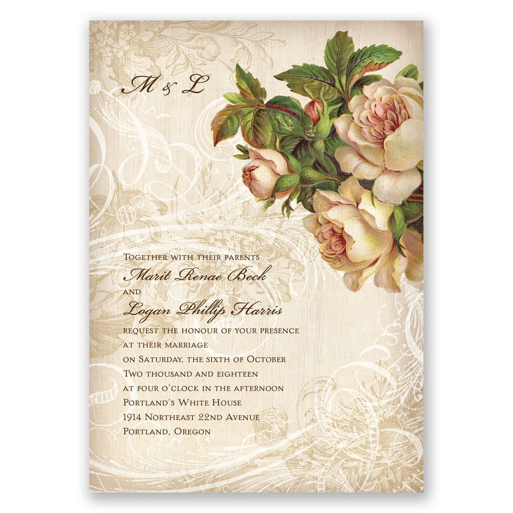 Vintage wedding invitations invitations by dawn vintage wedding invitations boho flowers invitation stopboris Images