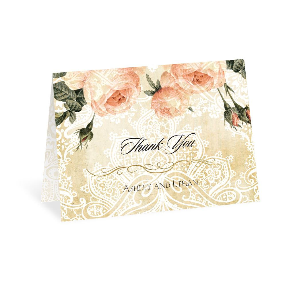 vintage garden foil thank you card invitations by dawn