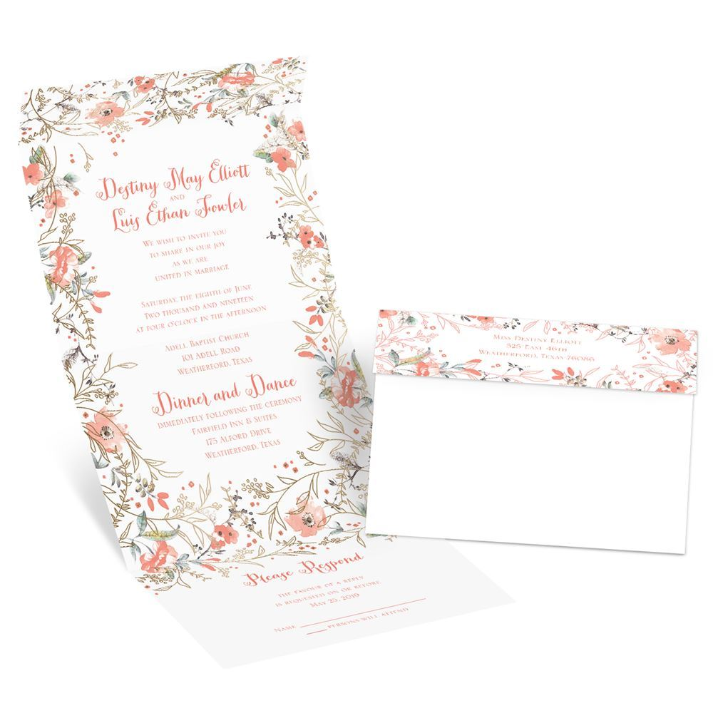 Wildflower Frame Foil Seal And Send Invitation