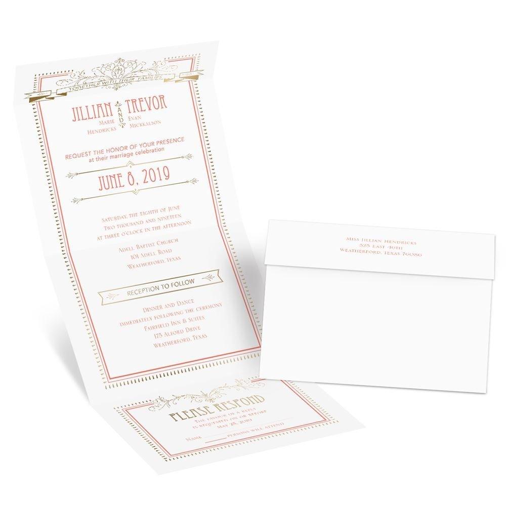 Elegant Elements Foil Seal And Send Invitation