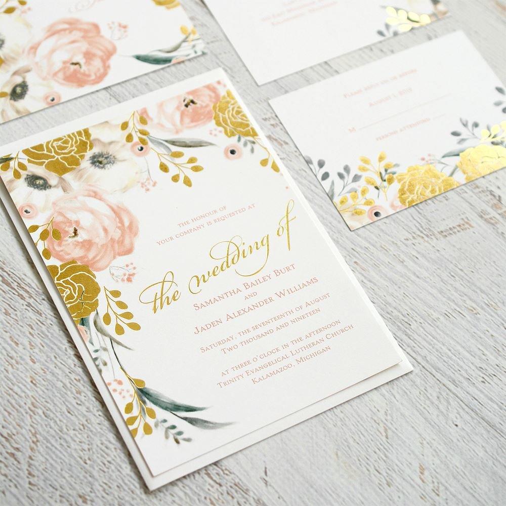 Gold Foil Wedding Invitations: Whimsical Rose Gold Foil Invitations